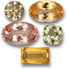 Untreated gems; diamond, imperial topaz, morganite, diaspore, citrine