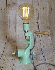 Vintage Up- Cycled Meat Grinder Lamp via gravelhilldesigns