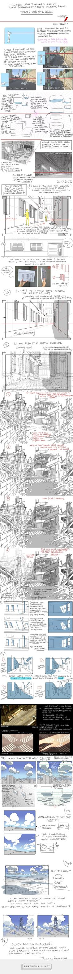 """""""Tips for drawing backgrounds"""" by Thomas Romain * Illustrator Tutorials, Art Tutorials, Drawing Techniques, Drawing Tips, Anatomy Reference, Art Reference, Thomas Romain, Character Design Tips, Comic Tutorial"""