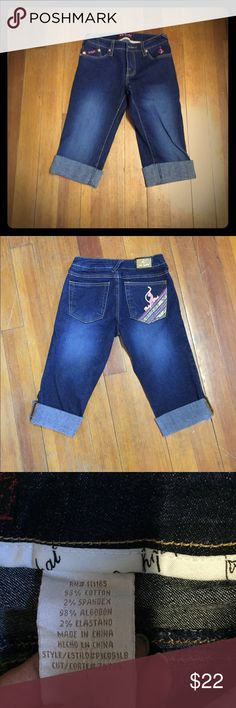 Baby Phat cuffed capri pants Size 1 Baby Phat very cute, like new, cuffed, dark blue. Size 1. Baby Phat Jeans Ankle & Cropped