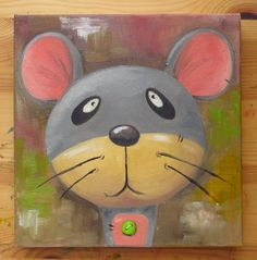 Mouse Portrait Original Art Animals Oil on canvas by MikiMayoShop