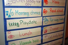 A visual schedule that is flexible and gets the kids involved helps them see and anticipate what is coming up next in the day without so many questions. Good tip for preschool age or older kids. Summer Activities, Learning Activities, Kids Learning, Summer Schedule, Toddler Schedule, Baby Schedule, Pokerface, Visual Schedules, Tot School