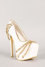 Yang-60 Leatherette Chain Pointy Toe Stiletto Platform Pump