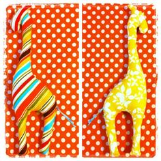 DIY stuffed giraffe baby rattle | Add looped ribbon for hair