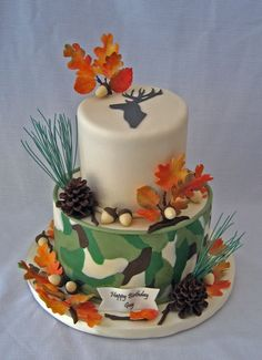 camo cakes | covered with fondant. Added a layer of fondant camo, made off the cake ...