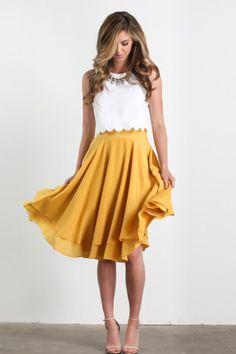 Becky Yellow Flare Midi Skirt - Morning Lavender