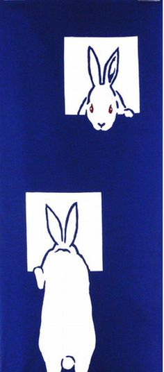 Japanese Tenugui Towel Cotton Fabric, Rabbit Design, Kawaii Bunny, Animal Fabric, Modern Art Design, Wall Art Hanging, Gift Wrapping, JapanLovelyCrafts
