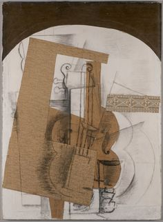 The Violin. Georges Braque (French, Date: early Medium: Cut and pasted papers. invading time and space within the piece so why not invade the viewers space by bringing in the illusion of three dimensional petruding shapes Pablo Picasso, Picasso And Braque, Cubist Artists, Cubism Art, Henri Matisse, Rene Magritte, Georges Braque Cubism, Synthetic Cubism, Andre Derain