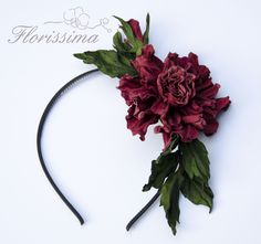 Leather red rose headband
