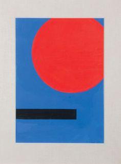 JO DELAHAUT (B/1911-1992) Cercle rouge et rectangle noir sur fond bleu, 1962 Gouache sur papier. Signée et datée en bas à droite. H_48,5 cm L_34,5 cm - Pierre Bergé & associés - 13/12/2015