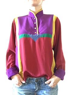 Vintage Silky Long Sleeve Colorful Blouse by ThriftedGal on Etsy