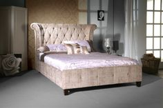 Luxurious looking bed frame with wooden feet and stylish mink velvet upholstered fabric. Features a high padded headboard. Low foot end. Sizes: Double x King Size x Super King Size x Manufactured by Limelight. Similar to Rochester bed frame. Velvet Upholstered Bed, Upholstered Bed Frame, Tall Headboard, Quilted Bed Frame, Velvet King Size Bed, Velvet Bedding Sets, Velvet Bed Frame, Bed Frames For Sale, Frame Shop