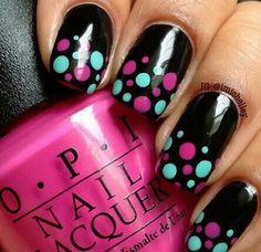 Black n polka dot nails