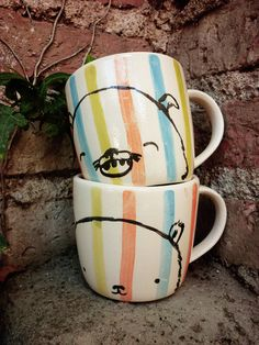 TWO Hand made and Painted ceramic MUGs by mirubrugmann on Etsy, $40.00