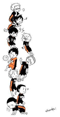 Karasuno - Amo o jeito que o Suga suporta o peso do Tanaka e Hinata só com as mãos ahsuah <3