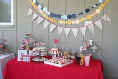 Simple decorations note: banners, cake, treats, table decorations, goody bags. Easton Party 001