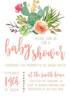 Celebrate the boho mommy-to-be with this beautiful watercolor invitation! Featuring watercolor flowers, cacti, and succulents, with a coral