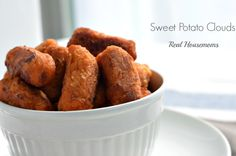 Sweet Potato Clouds were the happy accidental result of overcooking homemade sweet potato-tots! Author says made #GlutenFree with my Jules Flour. :)