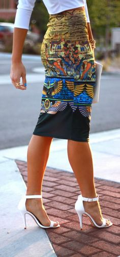 Egyptian printed pencil skirt, white blouse and heels