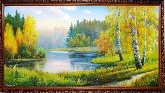 Осенью на озере в лесу - Осенний пейзаж <- Картины маслом <- Картины - Каталог | Универсальный интернет-магазин подарков и сувениров