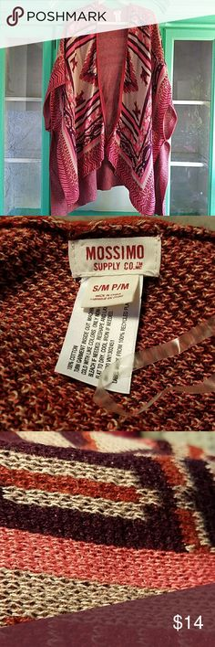 MOSSIMO Poncho, cotton knite, Love the colors,check pic for colors,Have two didn't realize in my closet, Found snag in last pic  and stitch on inside never noticed it is  till I took pic. no holes,it's a coralie pink, rust , beige, Brown, used with love for layering Jackets & Coats Capes