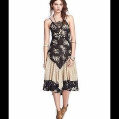 "Free People Women's Boho Floral Lace Slip Dress Details: - Square neck with lace panel - Sleeveless - Lace-up back self tie - Mixed prints - Pleated lower construction - Approx. 41"" length - Imported Fiber Content: 50% cotton, 50% viscose Care: Machine wash cold Additional Info: Fit: this style fits true to size.  Model's stats for sizing: - Height: 5'8.5"" - Bust: 32"" - Waist: 24"" - Hips: 34"" Model is wearing size S. ‼️Please DO NOT purchase here. Please msg me to set up a separate listing…"