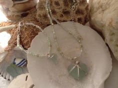 Beautiful & Rare heart shaped Sea foam green sea glass necklace and matching bracelet by WaterSpirits Jewelry
