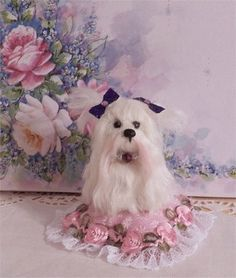 miniature maltese hand sculpted polymer clay doll house size