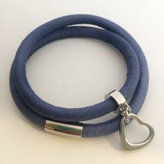 Leather wrap bracelet in denim blue with stainless steel