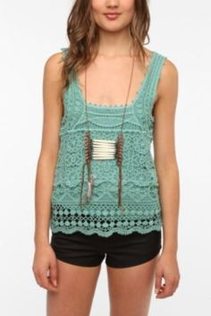 Urban Outfitters Crochet Tank Top Cream one arrived today in the mail. Love!