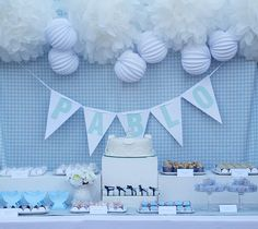 Blue and white christening party