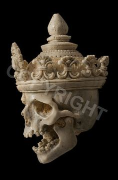 Unique carved large bone skull with crown moveable jaw crystal curiosity cabinet