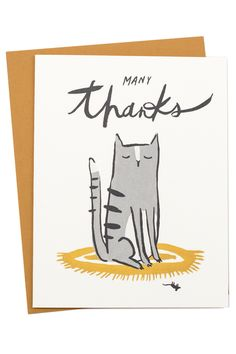 """Sending a little thank you note is always in good taste! Get a little help from this very generous kitty. Dimensions: Measures 4.25"""" x 5.5"""". Details: Includes coordinating envelope. Idlewild Co. is a"""