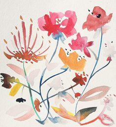 Nouveau Boheme no.5 - fine art Giclee, modern bohemian art, wildflower painting, watercolor painting, floral painting, minimalist, botanical