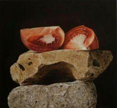 Two stones two tomatoes - Rafael De La Rica - 40x38 cm - Oil in Wood