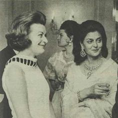 Rajmata Sahiba Gayatri Devi of Jaipur seen with Lady Pamela Hicks at a party in London in 1970