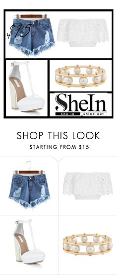 """http://m.shein.com/Ripped-Raw-Hem-Denim-Shorts-p-280347-cat-1912.html"" by a-neonbear ❤ liked on Polyvore featuring Miguelina, BCBGMAXAZRIA and Lele Sadoughi"