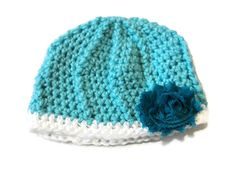 Baby Girl 03 Month Blue Hat Flower by PreciousBowtique on Etsy