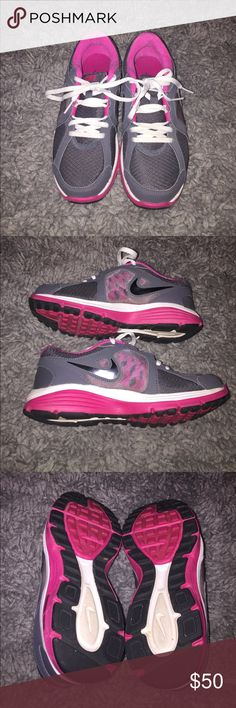 Running shoes Nike dual fusion running shoes, worn once or twice. Basically brand new with no box. Size 4 in Youth (big kids) Nike Shoes Sneakers