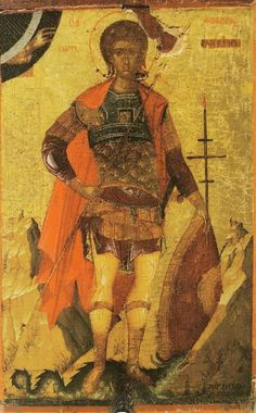 """The saints full name is """"St. Phanourios the Great & Newly Appeared of Rhodes."""" Like St. Anthony in Catholicism, he is the patron for finding lost items. Byzantine Icons, Byzantine Art, Russian Icons, Russian Art, Religious Images, Religious Icons, Saints And Soldiers, Fall Of Constantinople, Orthodox Catholic"""