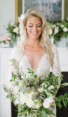 bohemian chic green and white wedding bouquet via natalie franke photography