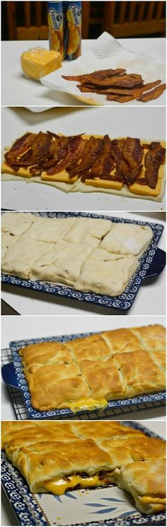 Grilled Cheese Bacon Crescent Squares | Bake a Bite