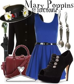 Mary Poppins inspired outfit by Disney Bound Disney Themed Outfits, Disney Bound Outfits, Disney Dresses, Disney Clothes, Mary Poppins Outfit, Moda Disney, Disney Inspired Fashion, Disney Fashion, Estilo Disney