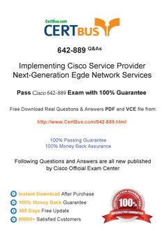 Candidate need to purchase the latest Cisco 642-889 Dumps with latest Cisco 642-889 Exam Questions. Here is a suggestion for you: Here you can find the latest Cisco 642-889 New Questions in their Cisco 642-889 PDF, Cisco 642-889 VCE and Cisco 642-889 braindumps. Their Cisco 642-889 exam dumps are with the latest Cisco 642-889 exam question. With Cisco 642-889 pdf dumps, you will be successful. Highly recommend this Cisco 642-889 Practice Test.