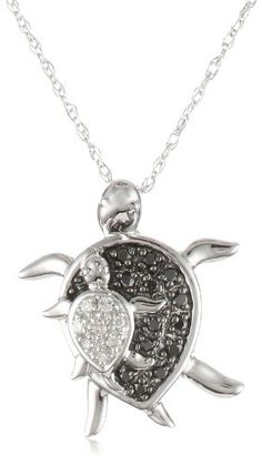 "XPY 10k White Gold Mother and Baby Turtle Diamond Pendant Necklace (0.08 cttw, I-J Color, I2-I3 Clarity), 18"" Amazon Curated Collection,http://www.amazon.com/dp/B003YDYYAW/ref=cm_sw_r_pi_dp_Obz9rb1XDYT9FNTJ"