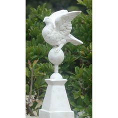 Ladybug Garden Decor Dove on Pedestal Statue