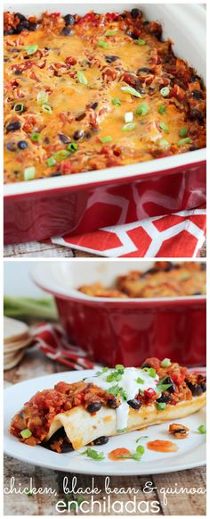 Chicken, Black Bean & Quinoa Enchiladas - easy to make and full of protein, these are a must make!