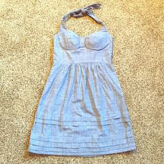 Spring Cleaning SaleCute Halter Dress Cute halter dress with a chambray appearance!  Comfortable with lining in chest. Knee length. Purchased from JCPenney. A fun dress in great used condition! Only worn a few times! B. Smart Dresses