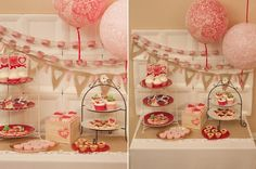 Vintage Valentine Party by @Do {Piggy Bank Parties} lace balloons, burlap bunting, doily paper chains, so many DIY projects & tutorials!