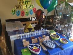 Triforce pinata, Rupee name banner, other decorations for my son's Zelda Birthday Party